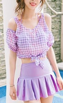 甜蜜格紋 深V鋼圈四件式泳衣 M-L AINIA - 紫色