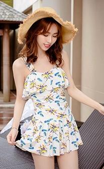 羽夏棕櫚 浪漫顯瘦連身鋼圈泳衣 M-L AINIA - 白色
