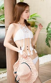 椰林風情 針織流蘇無鋼圈比基尼 S-L AINIA - 白色