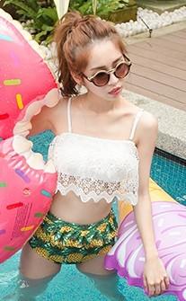 南洋熱情 完美比例高腰荷葉兩件式泳衣 M-XL AINIA - 白色
