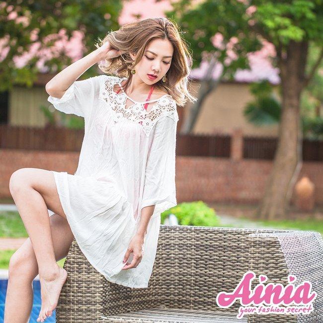 鏤空蕾絲 大人風優雅單品泳衣罩衫 FREE AINIA,泳衣,泳衣罩衫,泳衣背心,Ania,Alnla