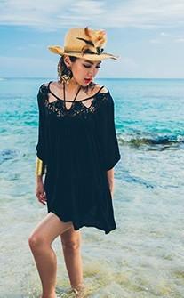 鏤空蕾絲 大人風優雅單品罩衫 FREE AINIA - 黑色