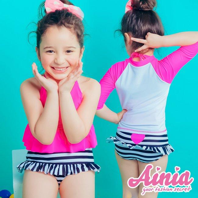 【首購免運費】粉粉陽光 今夏最IN的水母衣兒童3件式 S-XL AINIA