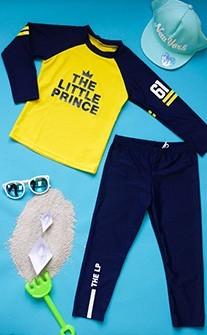 活力寶貝 運動男寶水母衣兒童泳衣2件式 S-2XL AINIA - 藍色