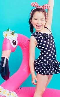 圈圈圓圓 斜肩連身兒童泳衣 M-5XL AINIA - 黑色