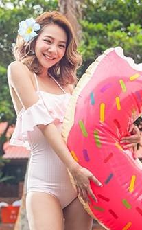 復古浪漫 清秀格紋荷葉領連身式泳衣 M-XL AINIA - 粉紅