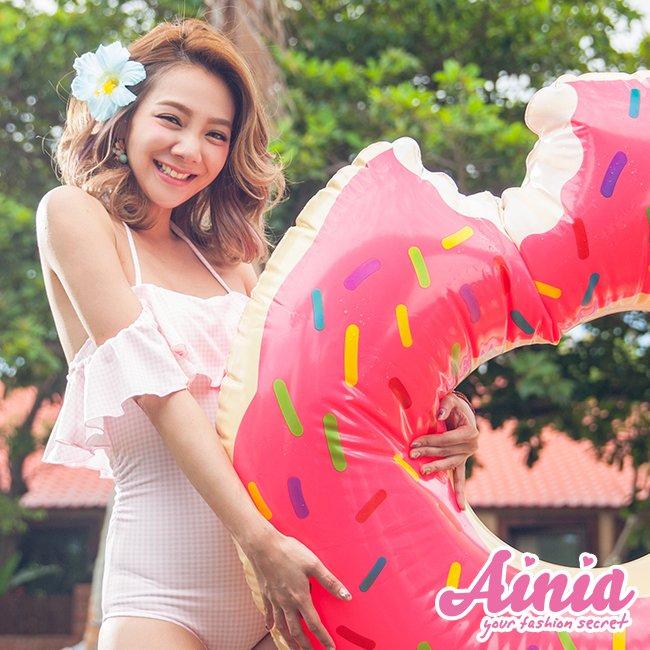 復古浪漫 清秀格紋荷葉領連身式泳衣 M-XL AINIA,泳衣,連身泳衣,Ania,Alnla,