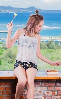 亞洲女伶 經典綁帶繞頸三件式泳衣 M-XL AINIA - 黑色