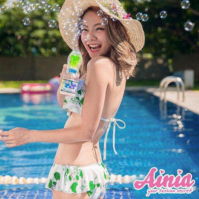 透淨女神荷葉豐胸綁帶三件式泳衣 M-L AINIA,泳衣,三件式,Ania,Alnla,