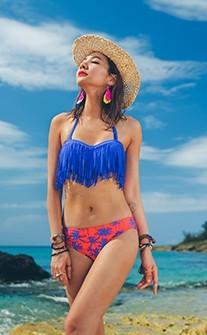 流蘇不羈 個性時尚設計兩件式泳衣 M-XL AINIA - 藍色