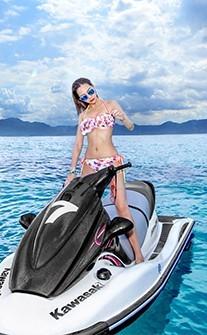 華麗舞姿 清新綁帶豐胸兩件式泳衣 M-L AINIA - 粉紅