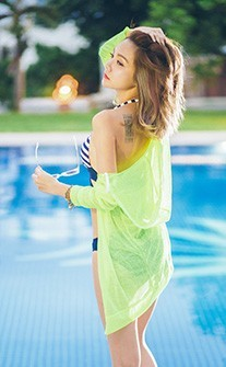 精彩蛻變 泳衣經典外罩衫 FREE AINIA - 綠色