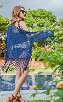極致女神 流蘇擺盪波希米亞風泳衣罩衫 FREE AINIA - 藍色
