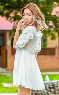 雪紡迷情 深V透膚美腰罩衫 S-M AINIA - 白色