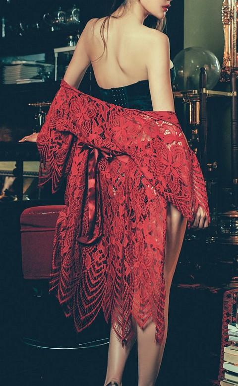 冰肌美人 挖空羽毛蕾絲睡袍 FREE anSubRosa - 紅色