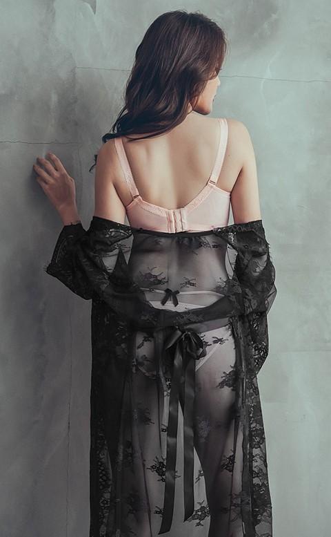幻愛歌德 睫毛蕾絲長睡袍 FREE anSubRosa - 黑色