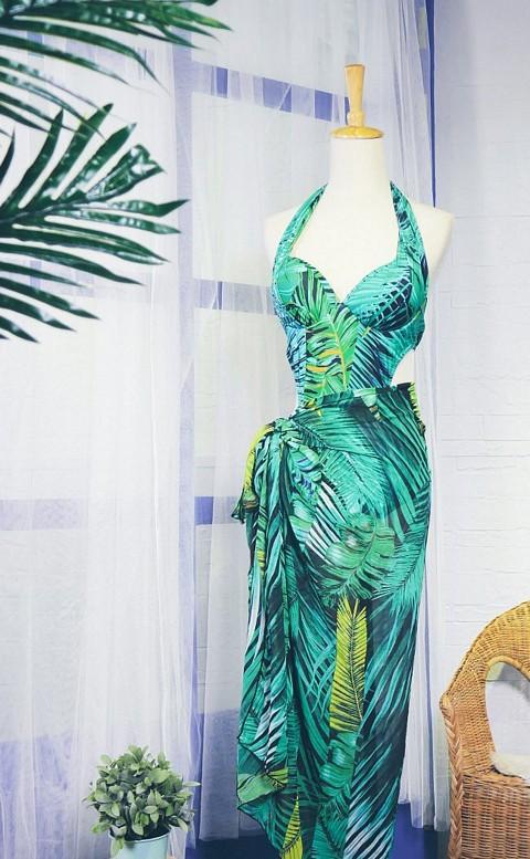 熱帶森巴 挖腰式連身顯瘦兩件式泳衣 M-XL AINIA - 綠色
