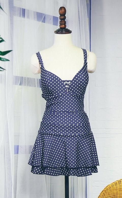 夏日自信 迷人顯瘦連身泳衣 L-2XL AINIA - 藍色
