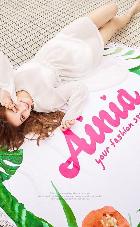熱帶棕櫚 Ainia流蘇圓形沙灘巾 FREE AINIA - 白色