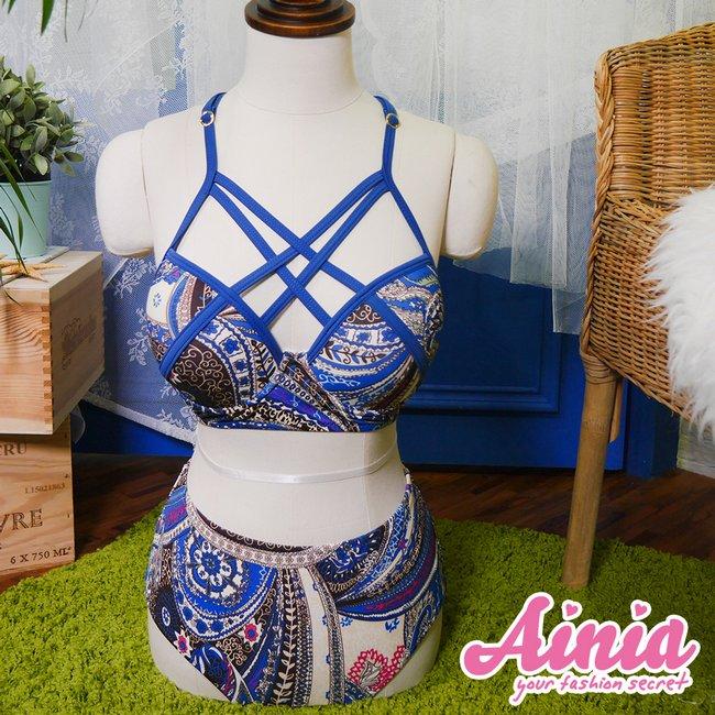 【首購免運費】豔夏海洋 交叉美胸兩件式泳衣 M-L AINIA