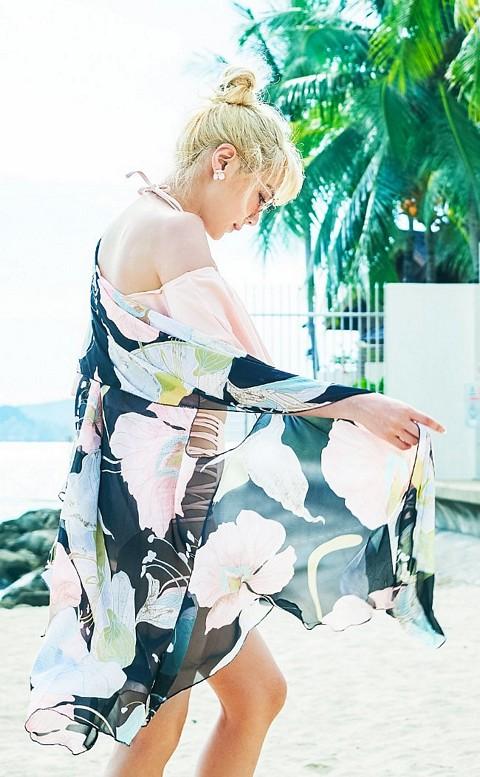 夢中女神 雪紡飄逸多功能泳衣罩衫 FREE AINIA - 黑色