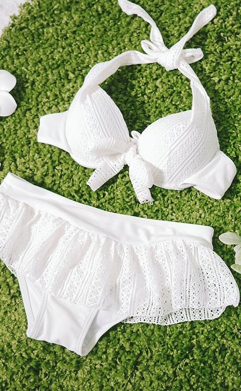 波西米亞 彈性蕾絲三件式泳衣 M-XL AINIA - 白色