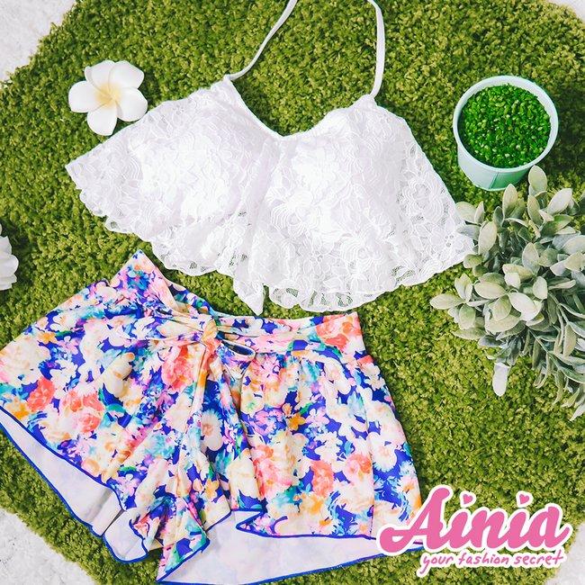 浪漫花控 荷葉蕾絲三件式泳衣 M-XL AINIA,泳衣,Ania,Alnla,三件式,鋼圈