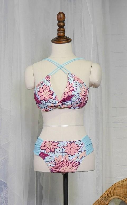 浪漫夕陽 多穿式三件式比基尼 M-XL AINIA - 粉紅