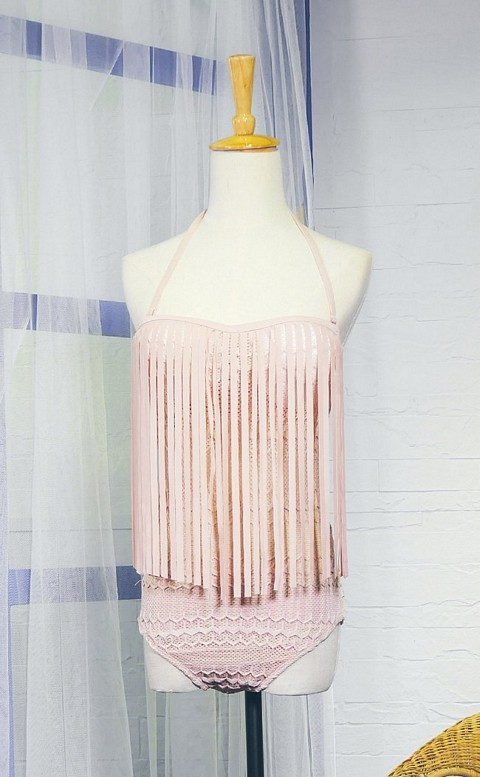 連身甜美流蘇 集中鋼圈顯瘦連身泳衣 M-XL AINIA - 粉紅