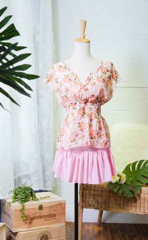 花神織戀 集中美胸鋼圈三件式泳衣 M-XL AINIA - 粉色