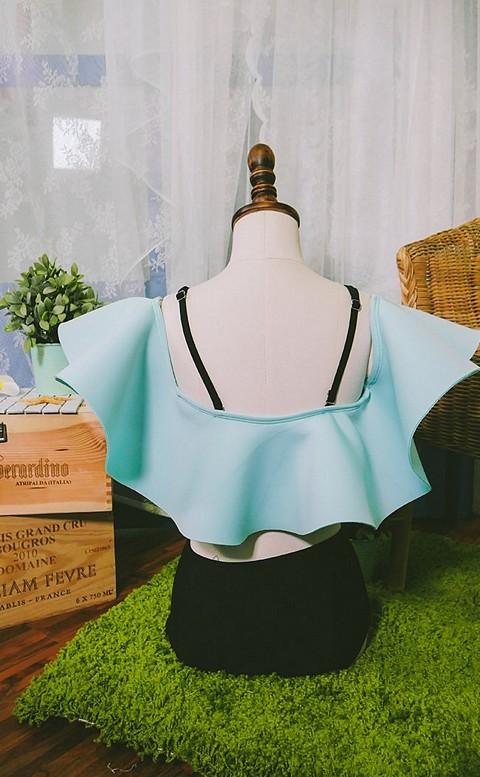 平口朵莉 太空膨膨泳衣二件式 M-XL AINIA - 藍色