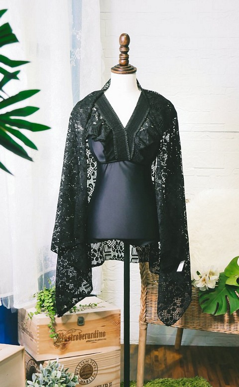 黝黑美人 顯瘦兩件式連身泳衣 M-XL AINIA - 黑色