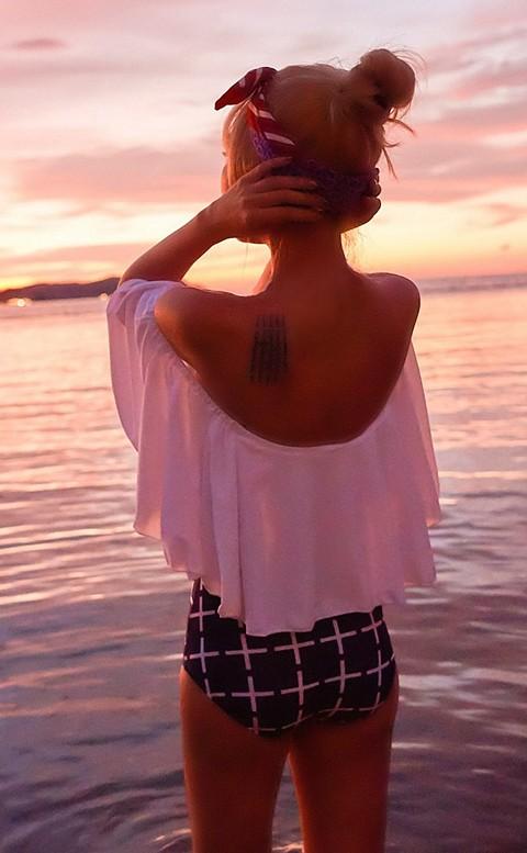 俏皮甜心 平口荷葉兩件式高腰顯瘦泳衣 M-XL AINIA - 白色