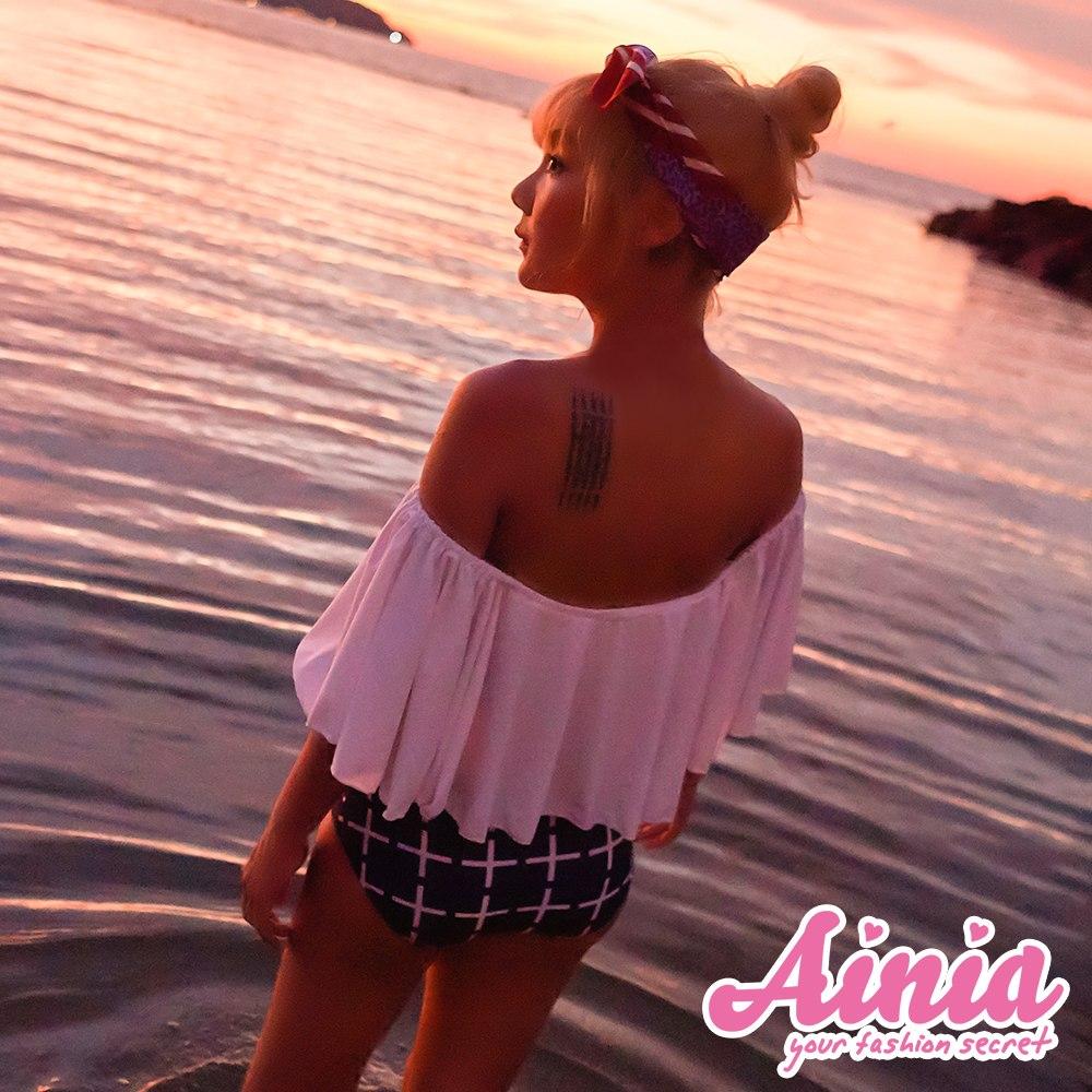 俏皮甜心 平口荷葉兩件式高腰顯瘦泳衣 M-XL AINIA,泳衣,二件,Ania,Alnla,鋼圈