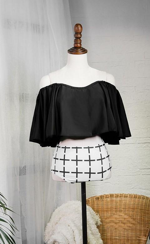俏皮甜心 平口荷葉兩件式高腰顯瘦泳衣 M-XL AINIA - 黑色