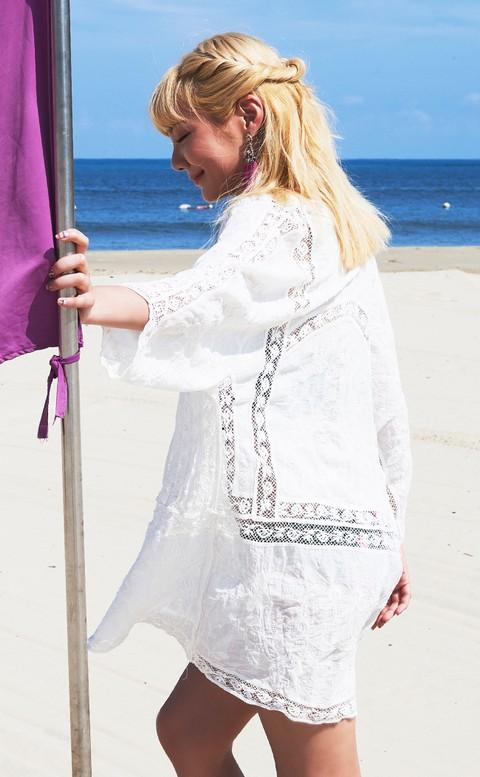 精靈國度 顯瘦遮陽流行款泳衣罩衫 FREE AINIA - 白色