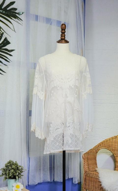 浪漫美膚 網紗針織蕾絲罩衫透膚 FREE AINIA - 米色