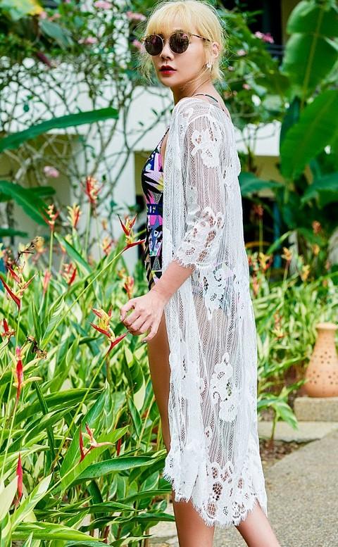魅力女神 長版透視蕾絲罩衫 M-XL AINIA - 白色