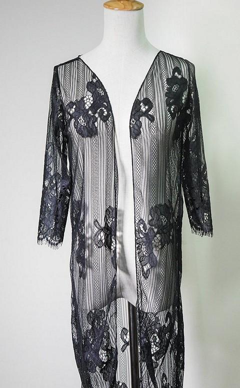 魅力女神 長版透視蕾絲罩衫 M-XL AINIA - 黑色