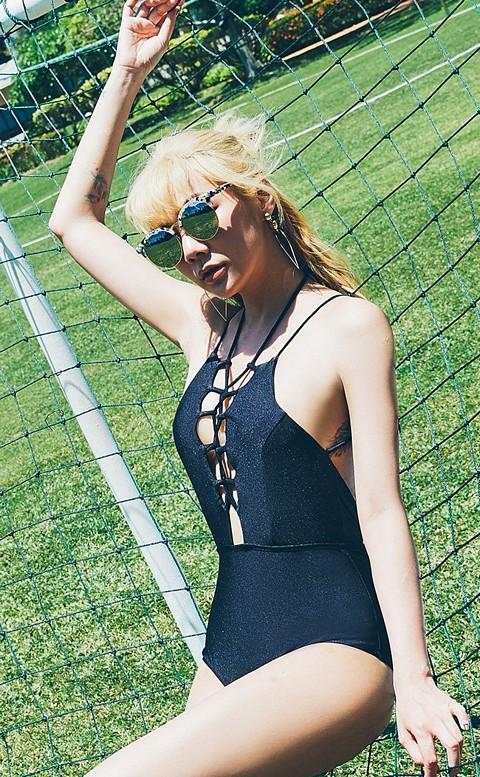 龐德女郎 深V性感交叉連身泳衣 M-XL AINIA - 黑色