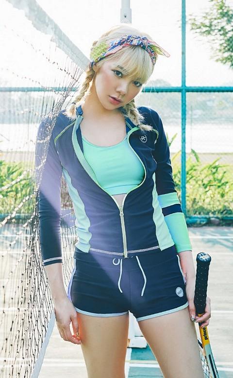韓妞甜心 多功能三件式運動泳衣 M-XL AINIA - 綠色
