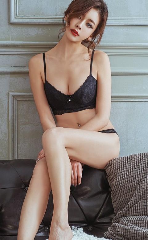 爵美女伶 性感蕾絲成套內衣褲 A-C anSubRosa - 黑色