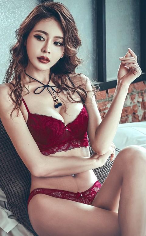 爵美女伶 性感蕾絲成套內衣褲 A-C anSubRosa - 紅色