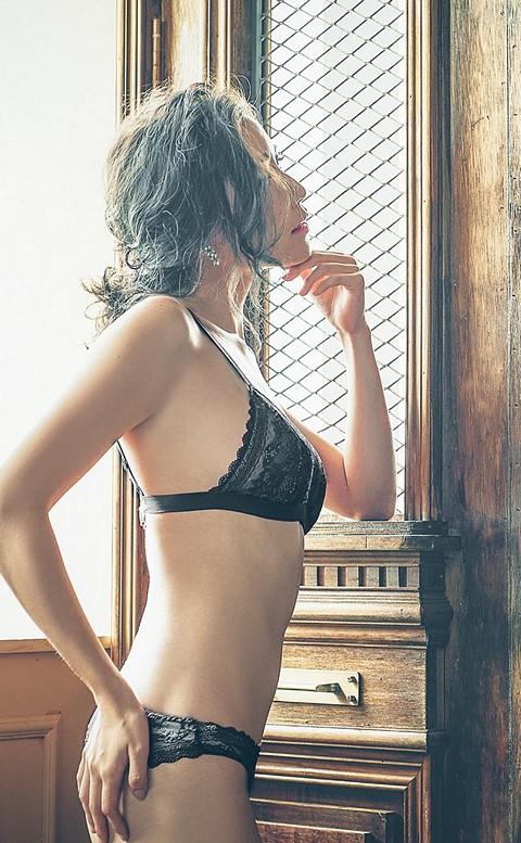 忌妒天使 蕾絲無襯成套內衣褲 S-XL anSubRosa - 黑色