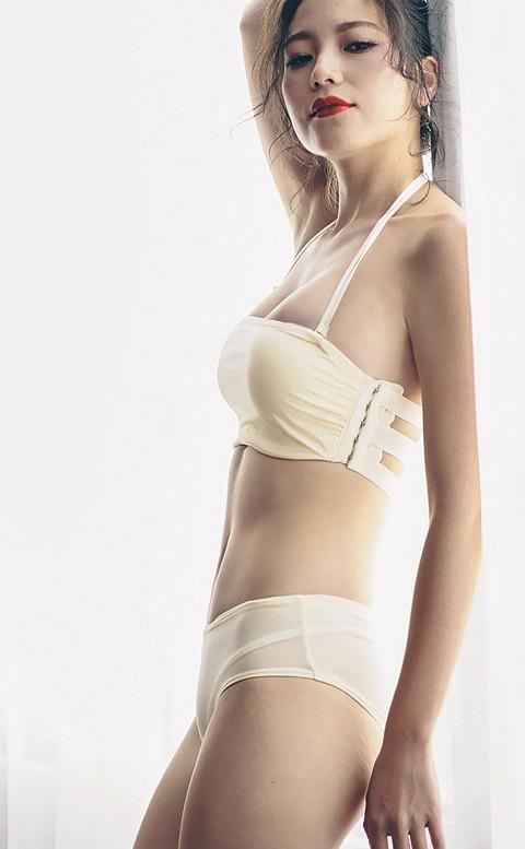 蜜糖裸紗 平口無鋼圈成套內衣褲 A-C anSubRosa - 黃色