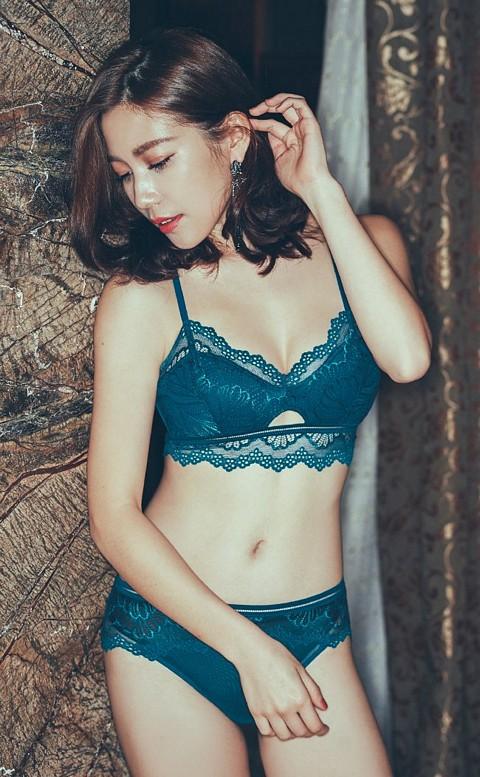 孔雀之華 無鋼圈薄襯美背成套內衣褲 M-XL anSubRosa - 藍綠