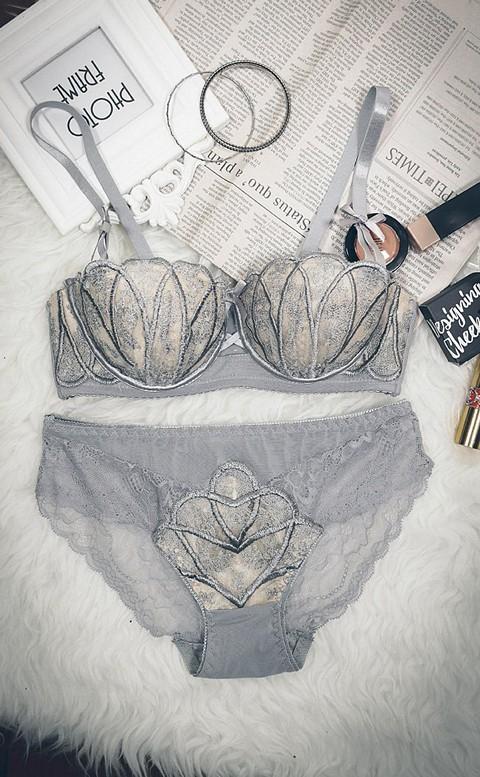 迷戀薔薇 刺繡爆乳成套內衣褲 A-B anSubRosa - 灰色