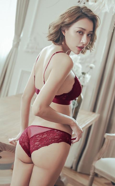 紐約時尚 性感無襯成套內衣褲 S-XL anSubRosa - 紅色