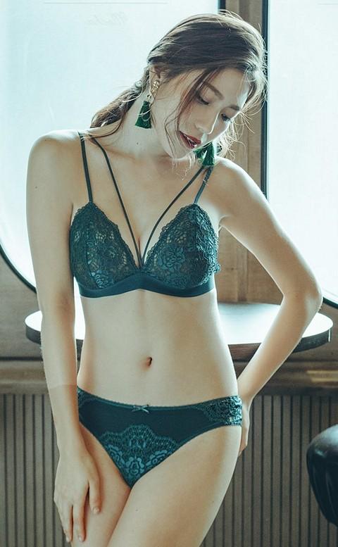 紐約時尚 性感無襯成套內衣褲 S-XL anSubRosa - 深綠