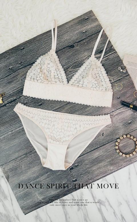 奧黛女神 法式Bralette成套內衣褲 S-XL anSubRosa - 膚色